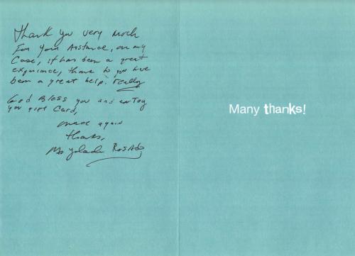 testimonial handwritten card